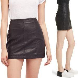 Free People Modern Femme Vegan Black Mini Skirt